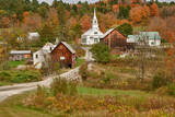 USA  Vermont  Waits River New England Town with Church and Barn