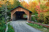 USA  Vermont  Montgomery Creamery Bridge with Fall Foliage