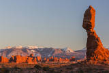 USA  Utah  Arches Balanced Rock and La Sal Mountains at Sunset