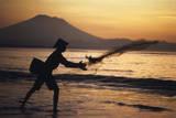 Indonesia  Bali  Silhouette of Fisherman Fishing at Sanur Beach