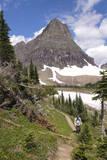USA  Montana  Glacier Hiker in Logan Pass  Clements Mountain