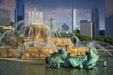 USA  ILlinois  Chicago  Buckingham Fountain in Downtown Chicago