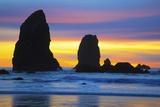 Sunset at Low Tide  Needles  Canon Beach  Oregon Coast