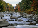 Swift River Flowing Through Forest in Autumn
