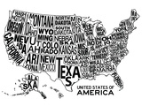 United States of America Stylized Text Map
