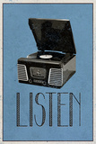 Listen Retro Record Player Art Poster Print