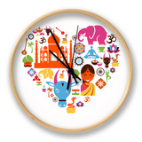 Heart With India Icons Horloge par Marish