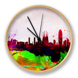 Barcelona Watercolor Skyline Horloge par NaxArt