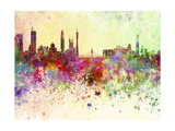 Guangzhou Skyline in Watercolor Background