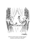 """A toast to Everyman and the human condition and Lauren Bacall!"" - New Yorker Cartoon"
