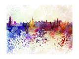 Chicago Skyline in Watercolor Background