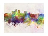 Des Moines Skyline in Watercolor Background Reproduction d'art par Paulrommer