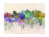 Denver Skyline in Watercolor Background