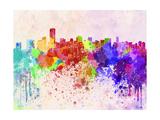 Miami Skyline in Watercolor Background