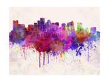 Boston Skyline in Watercolor Background