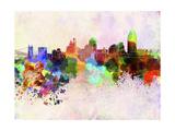 Cincinnati Skyline in Watercolor Background