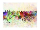 Berlin Skyline in Watercolor Background Reproduction d'art par Paulrommer