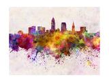 Cleveland Skyline in Watercolor Background Reproduction d'art par Paulrommer