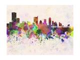 Austin Skyline in Watercolor Background Reproduction d'art par Paulrommer