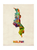 Malawi Watercolor Map Reproduction d'art par Michael Tompsett