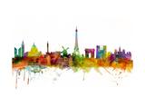 Paris France Skyline Reproduction d'art par Michael Tompsett
