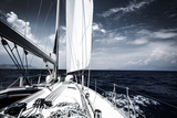 Luxury Sail Boat in the Sea at Evening  Extreme Water Sport  Yacht in Action  Summer Transport  Tri
