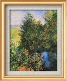 Corner of the Garden at Montgeron Art texturé encadré par Claude Monet