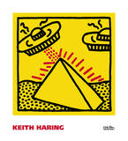 Untitled, 1984 (pyramid with UFOs) Reproduction d'art par Keith Haring