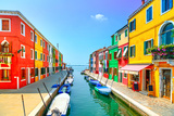 Venice Landmark  Burano Island Canal  Colorful Houses and Boats  Italy