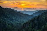Gatlinburg Tn Great Smoky Mountains National Park Scenic Sunset Landscape Papier Photo par Daveallenphoto