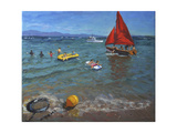 Yellow Buoy and Red Sails  Abersoch