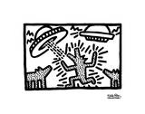 Untitled, 1982 (dogs with UFOs) Reproduction d'art par Keith Haring