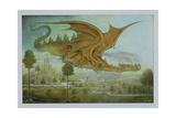 Flying Dragon over Landscape