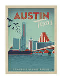 Congress Avenue Bridge, Austin, Texas Giclée par Anderson Design Group