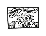 Untitled, 1982 (dogs with UFOs) Giclée par Keith Haring