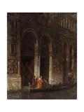 Venise  sortie du palais des Doges sous le Pont des Soupirs