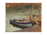 Barques au port (dos du tableau bouquet de bleuets)