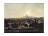 Les Voies de la gare du Nord  les toits de l'hôpital Lariboisière et la colline de Montmartre
