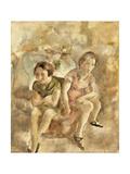 Deux fillettes assises