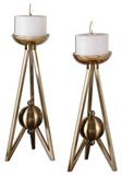 Andar Coffe Bronze Candleholders S/2