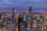 Chicago Skyline Panorama Aerial View with Skyscrapers with Cloudy  Sky at Dusk