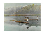 Men Fish from their Boats in the Scenic Dal Lake