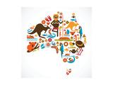 Australia Map Reproduction d'art par Marish