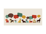 Dogs with Speech Bubbles - Vector Set of Icons and Illustrations Reproduction d'art par Marish
