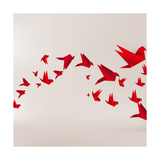 Origami Paper Bird on Abstract Background Reproduction d'art par Tarchyshnik Andrei