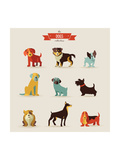 Dogs Vector Set of Icons and Illustrations Reproduction d'art par Marish