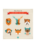 Cute Fashion Hipster Animals & Pets, Set of Vector Icons Reproduction d'art par Marish