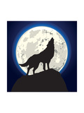 Detailed Illustration of a Howling Wolf in Front of the Moon  Eps 10 Vector