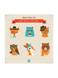 Cute Fashion Hipster Animals & Pets  Set of Vector Icons