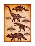 Collection of Dinosaurs with their Cutting Scheme Reproduction d'art par 111chemodan111